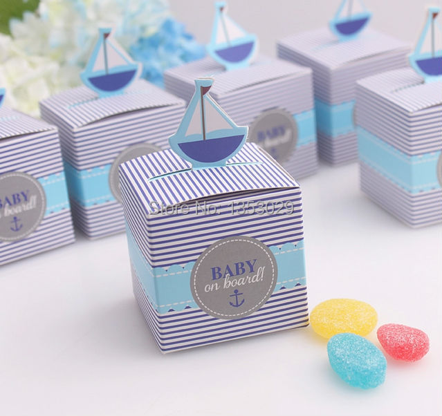 free shipping wholesale 30 sets baby shower favor box baby on board