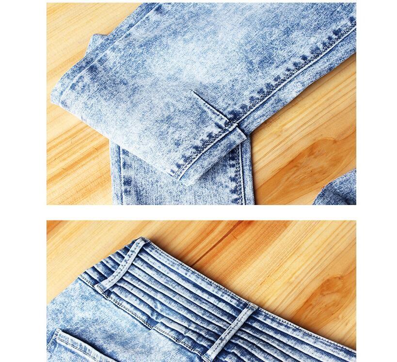 Скидки на Высокая Qualtity Отверстие ноги штаны большие джинсы размер женские брюки карандаш брюки оптом в Европе и Америке стрейч брюки нищий