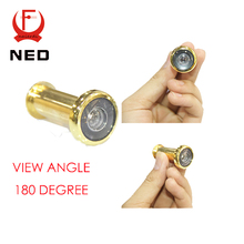 NED Deluxe 180Degree Wide Angle Peephole Door Viewer Door Spyphole Viewer Chrome-plated Gold-plated Copper-plated(China (Mainland))