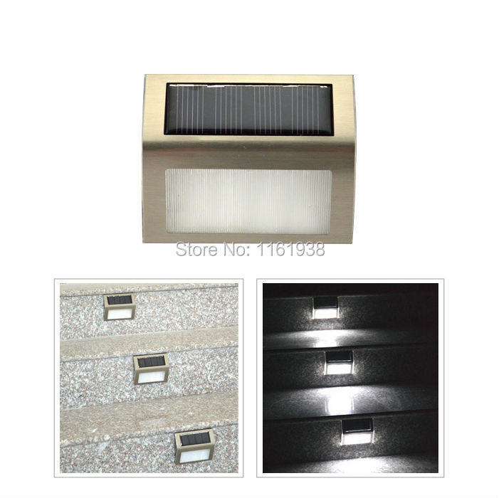 Solar Power 2 LED Light Garden Pathway Stairs Stainless Steel Lamp(China (Mainland))
