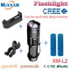 zk50 CREE XM-L2  4500LM lumens LED Flashlight Zoomable T6 LED torch lantern Super Bright Waterproof flashlight