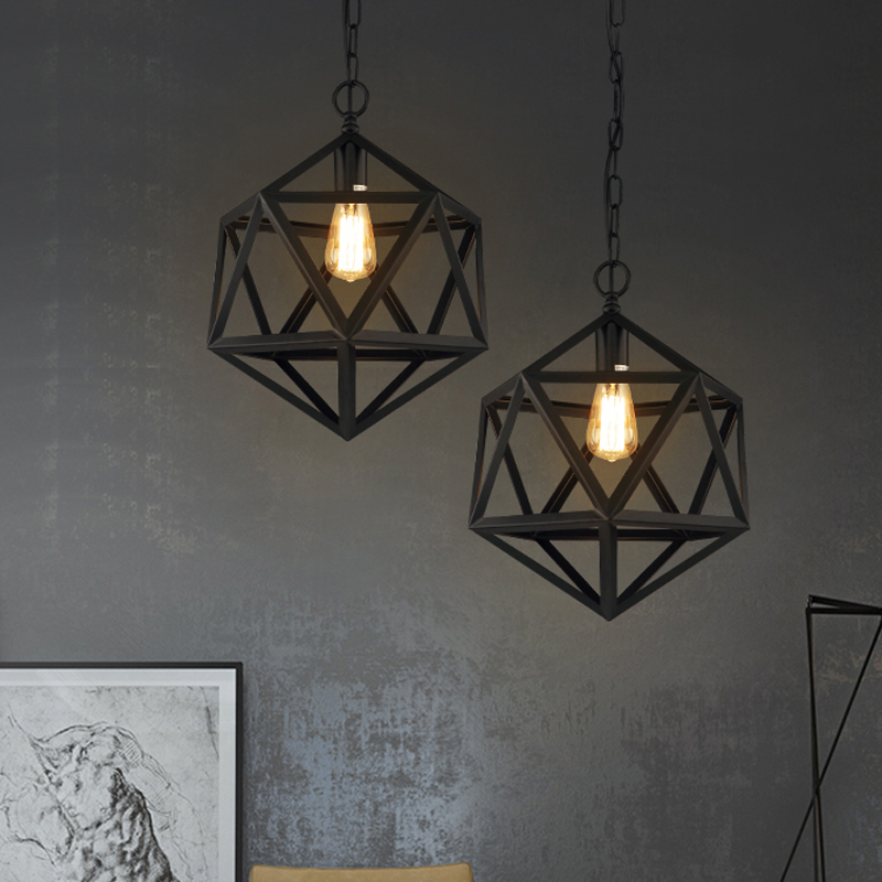 Фотография Free Shipping Industrial Loft Style Pendant Lights  Matte Black Iron Cage vintage Pendant Lamp for Edison bulb Lampfair E27