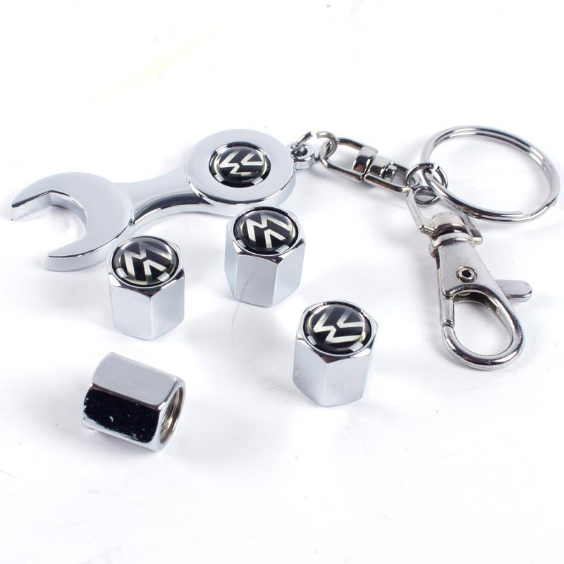 Tyres & Accessories Car Tire Valve Caps With Wrench Key Chain For Volkswagen Vw Cc R Gti Passat Golf Polo Mk5 Mk6 Tiguan(China (Mainland))