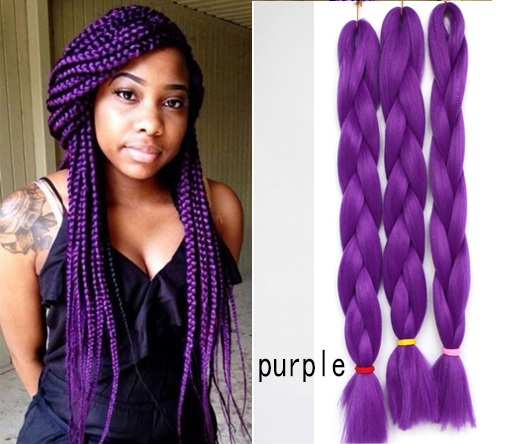 kanekalon braiding hair purple blue 4pcs two tone weave synthetic hair ...