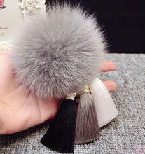 Multicolor Silk Tassel Key Chain Fur Pom Pom Fluffy Real Fox Fur Ball Keychain Fur Women Fur Bag Charm Bag Accessories