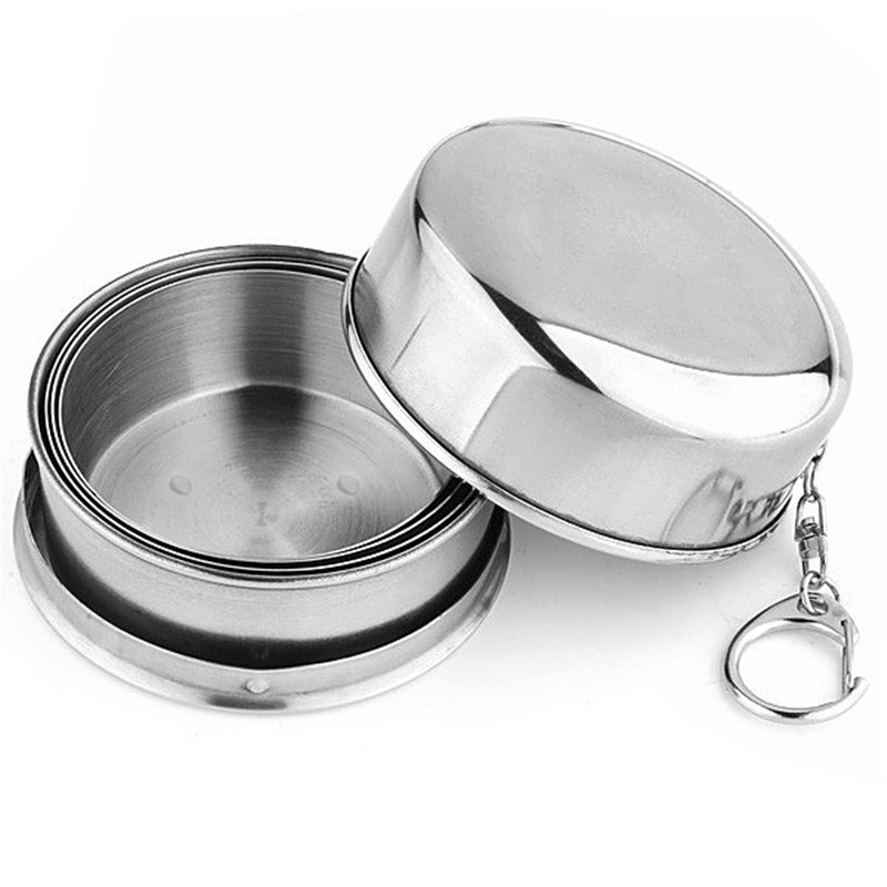 2016 New 1PCS Stainless Steel Camping Folding Cup Traveling Outdoor Camping <font><b>Hiking</b></font> Sports Mug Portable Collapsible Cup Bottel