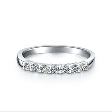 Solid 18K White Gold Wedding Bands 0.7Ct Synthetic Diamond Wedding Rings for Women Syrupy Gifts for Friend OEM Factory Customize(China (Mainland))