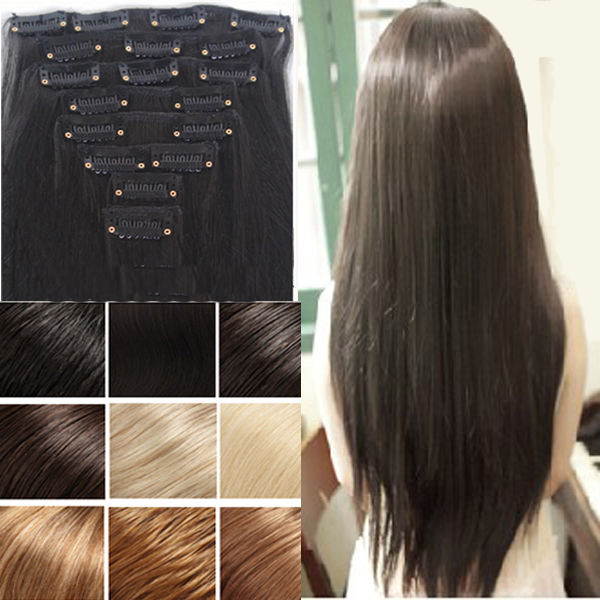 Real Natural 8 PCS Full Head Clip In Hair Extensions Straight Hair Pad Brown Black Blonde Pink Purple Free Shipping<br><br>Aliexpress