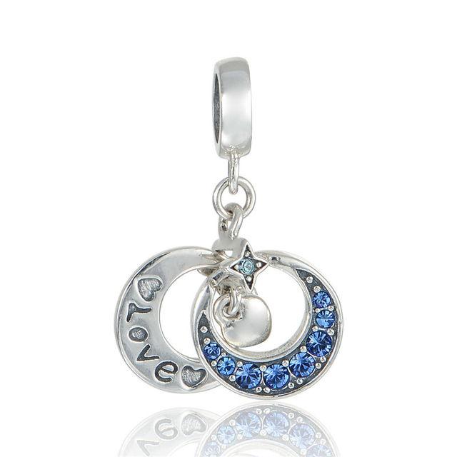 925 - серебристо-ювелирные бусины любовь и луна проложить CZ бусины Fit Chamilia пандора браслеты серебро 925 мода DIY