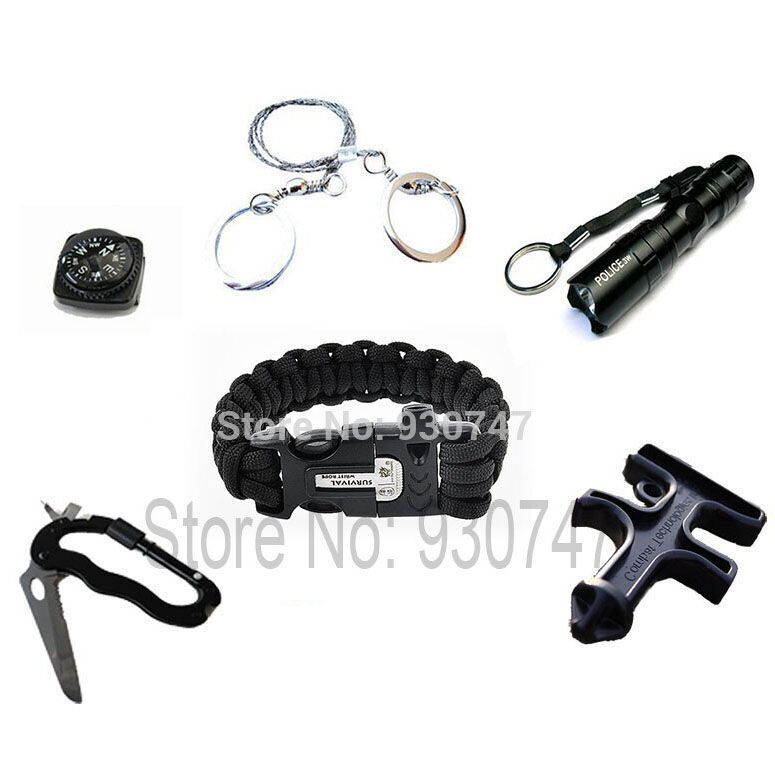 Camping Paracord Tools Outdoor Travel Survival Kit Release whistle Buckle Flint Fire Starter& carabiner& Wire Saw&compass - Sport Co.,Ltd store