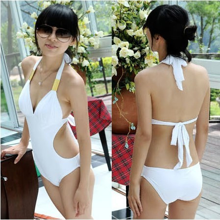 2016 hot sale new Explosion paragraph Pure color Sexy Halter Bikini sexy tight Siamese was