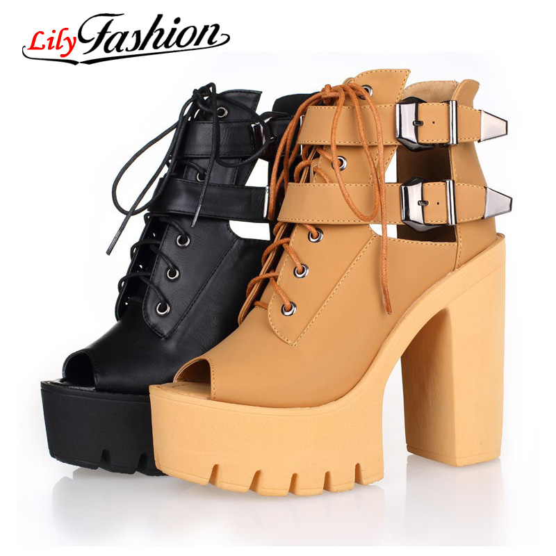 2016 buckle summer shoes fashion platform woman high heels open toe sandals women ladies peep pumps AH190 - ZIZI MM Store store