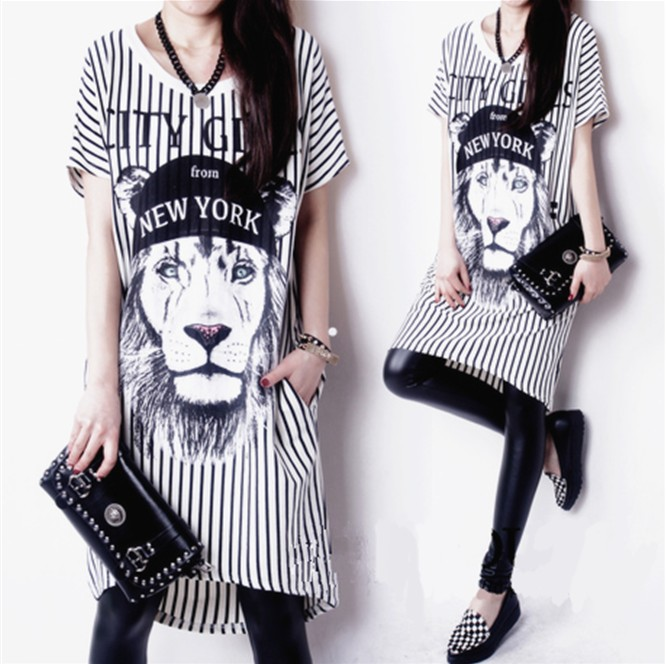 2014 summer fashion stripe o-neck print short-sleeve basic skirt casual loose one-piece dress female - jim yue's store