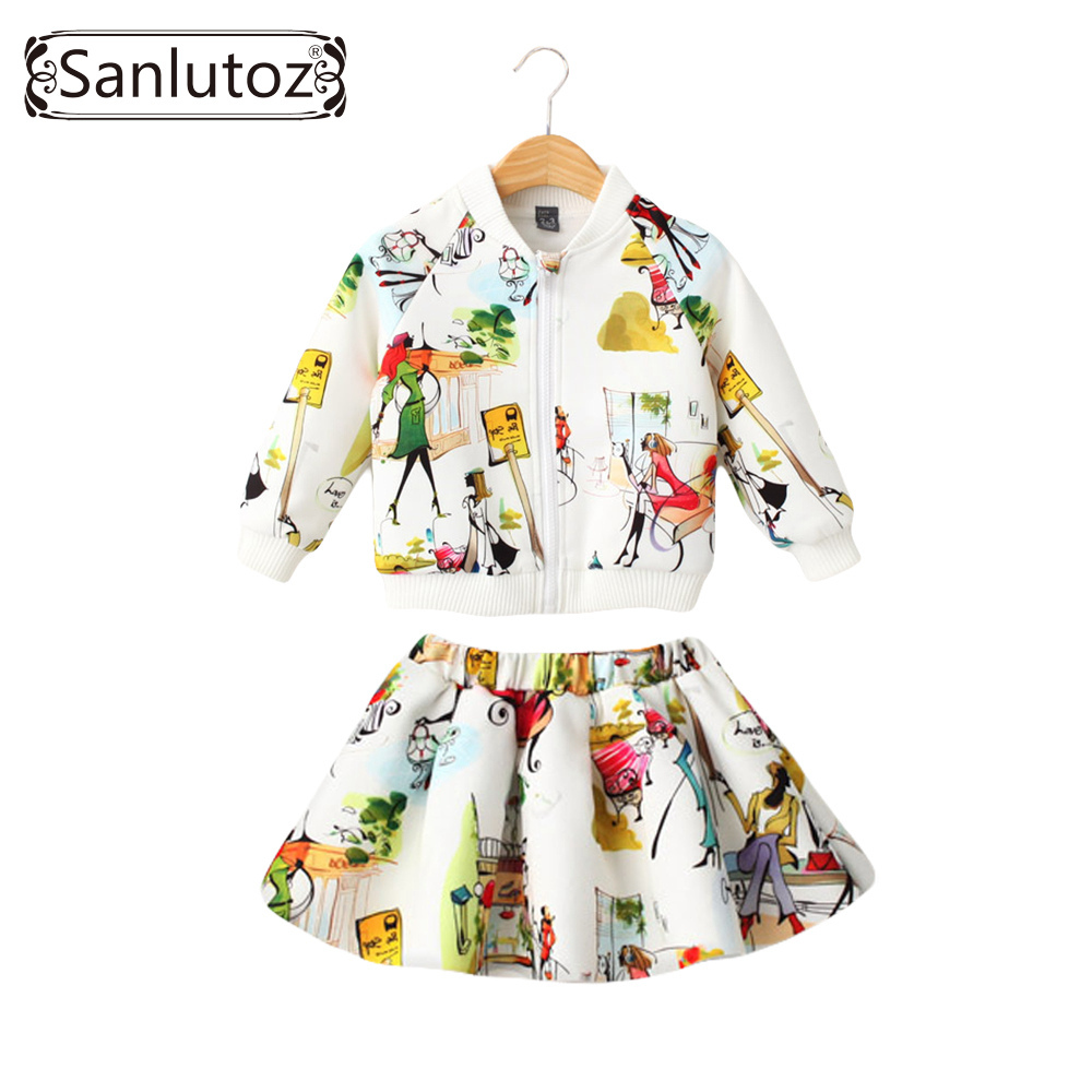 Sanlutoz Children Clothing Girls Set Kids Clothes Brand Girls Clothing Winter Sport Suits Toddler 2 PCS ( Jacket + Skirt )(China (Mainland))