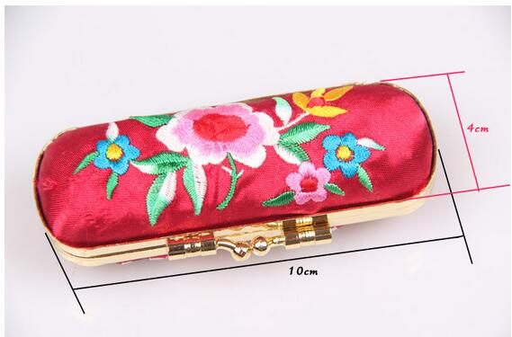 Pretty Flower Jewelry Gift Boxes with Mirror Chinese style High End Silk brocade Iron clamp Lipstick Packaging Lig balm Cases(China (Mainland))