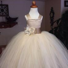 Envío gratis champagne correas espaguetis mullido tul vestido de la cucharada viste para bodas chicas vestidos del desfile(China (Mainland))