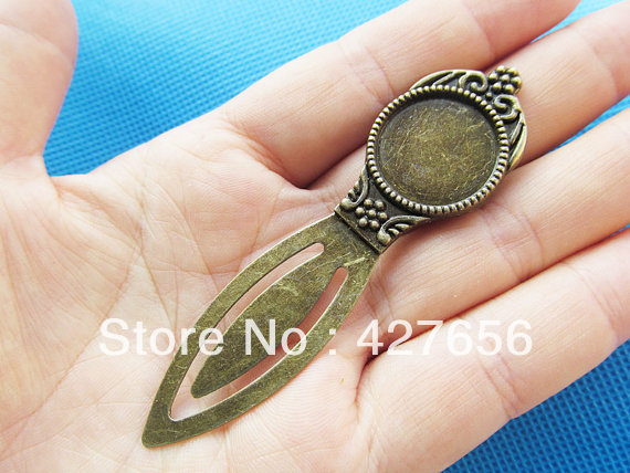 Antique Bronze BookMark Round Base Setting Tray Bezel Pendant Charm/Finding,Fit 18mm Cabochon/Picture/Cameo,DIY Accessory(China (Mainland))