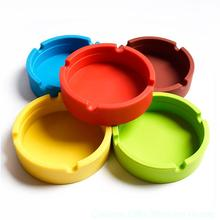 2015 New Men Noctilucent Soft Eco-Friendly Pocket Round Shatterproof Cigar Rubber Silicone Ashtray Cinzeiro Smokeless Wholesale(China (Mainland))