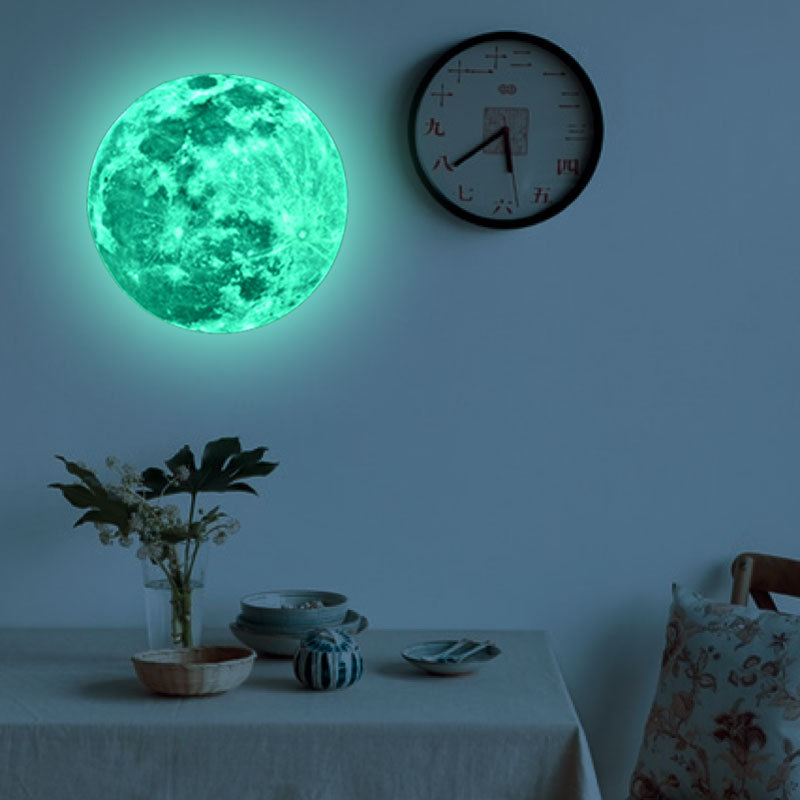 30cm Moon Glow in the Dark Moonlight Luminous Art Mural wall stickers home decor living room mirror wall stickers for kids rooms(China (Mainland))