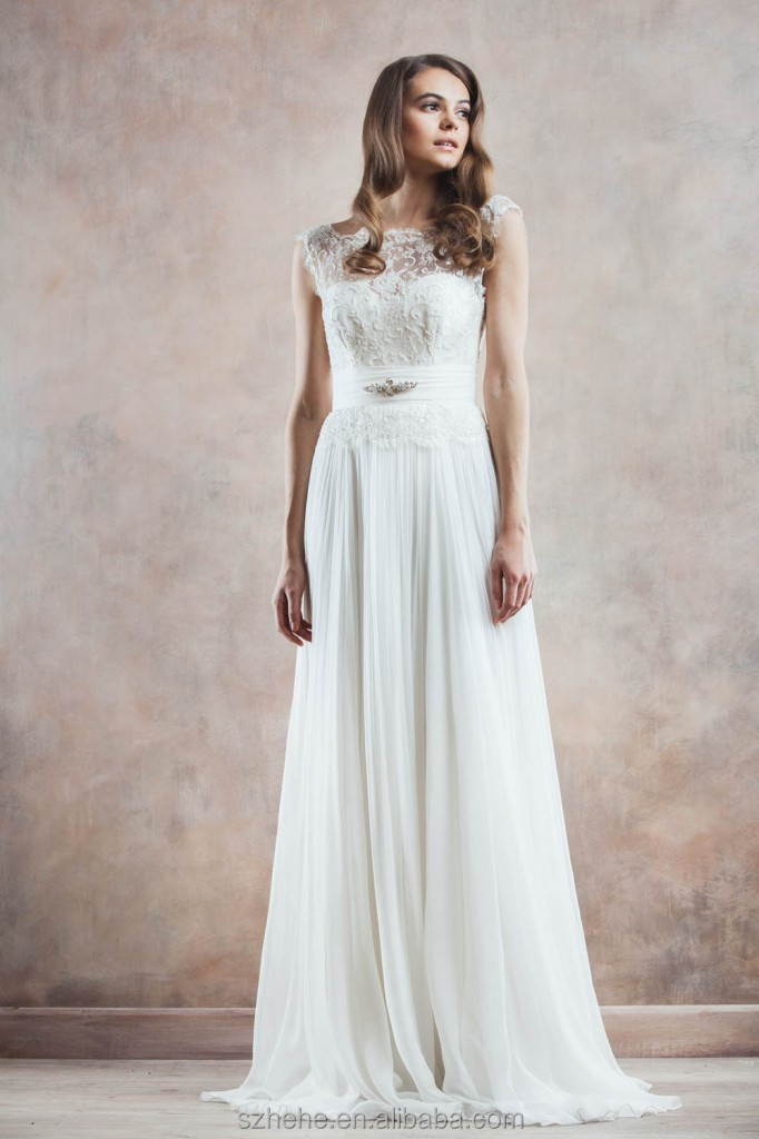 bridals cw3317 simple design cap sleeve lace top chiffon a line western casual wedding