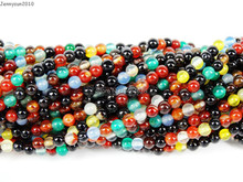 "Natural Multi-Colored Agate Gems Stones 2mm Smooth Round Spacer Loose Beads 15"" Strand for Jewelry Making Crafts 5 Strands/Pack"