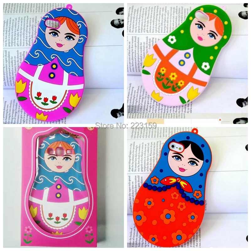 5 styles New Russian Classic Pear Flower 3D Doll For iphone 6 4.7 Silicon Case Fashion Girl Retro pouch Baby Child free shipping(China (Mainland))