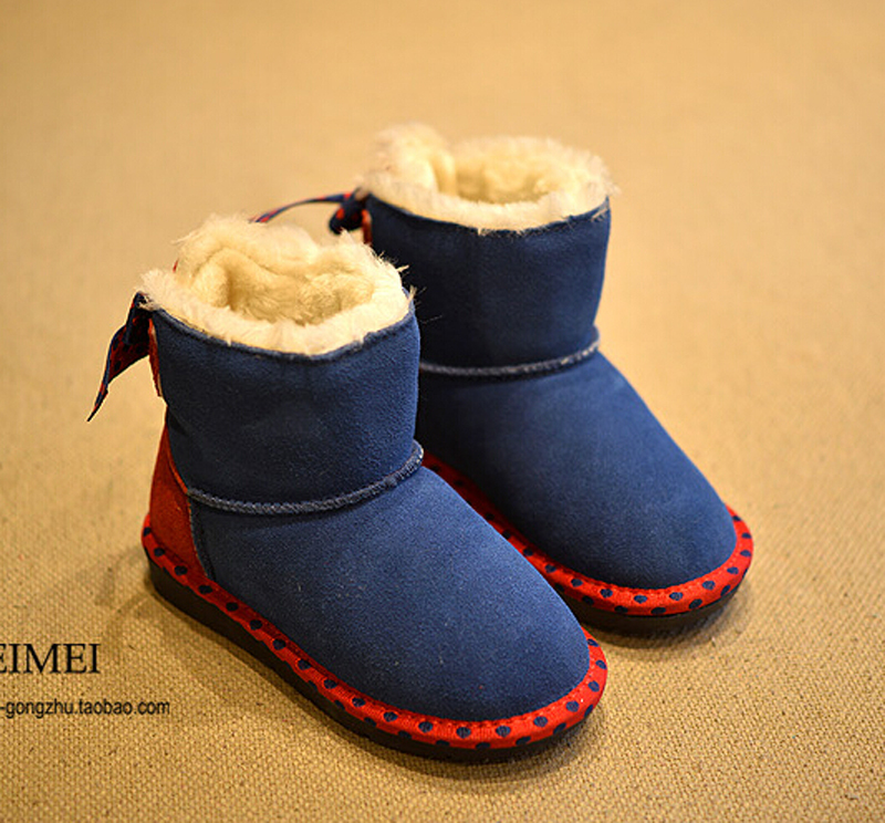 Perfect Baby Shoes winter girls snow boots genuine leather snow boots thicken plush princess dot bow medium-leg boots hot sale(China (Mainland))