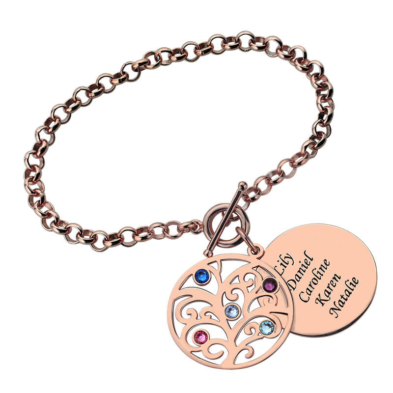 engraved family tree bracelet with birthstones gold