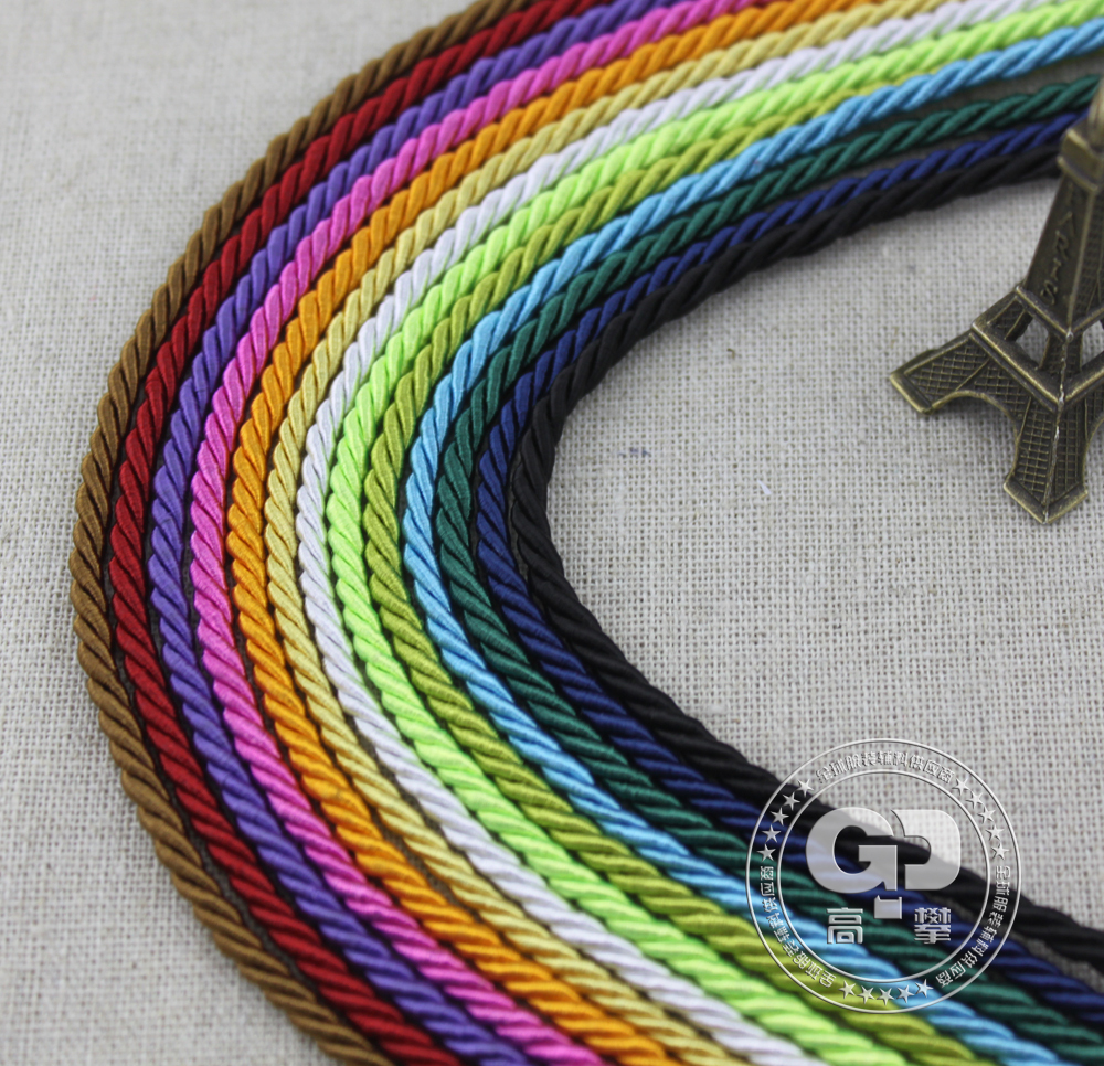 Free shipping! 3MM Dia, Colorful Decorative Twisted Cord/Polyester Cord/Rope ,13 colors , 100m/lot(China (Mainland))