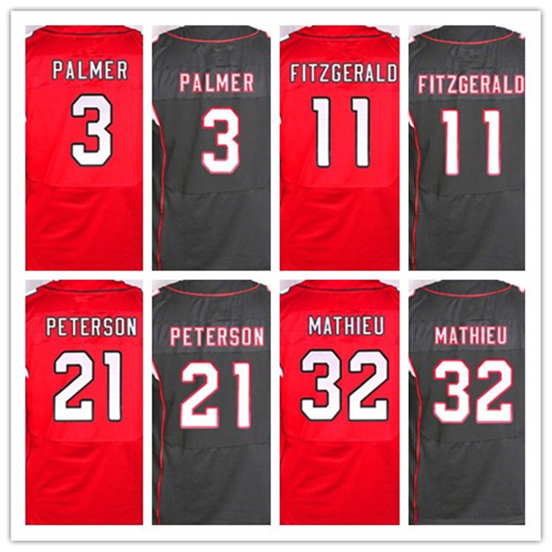 Good quality,Men's 3 Carson Palmer 11 Larry Fitzgerald 21 Patrick Peterson 32 Tyrann Mathieu elite jerseys,White Red,Size 40-56(China (Mainland))