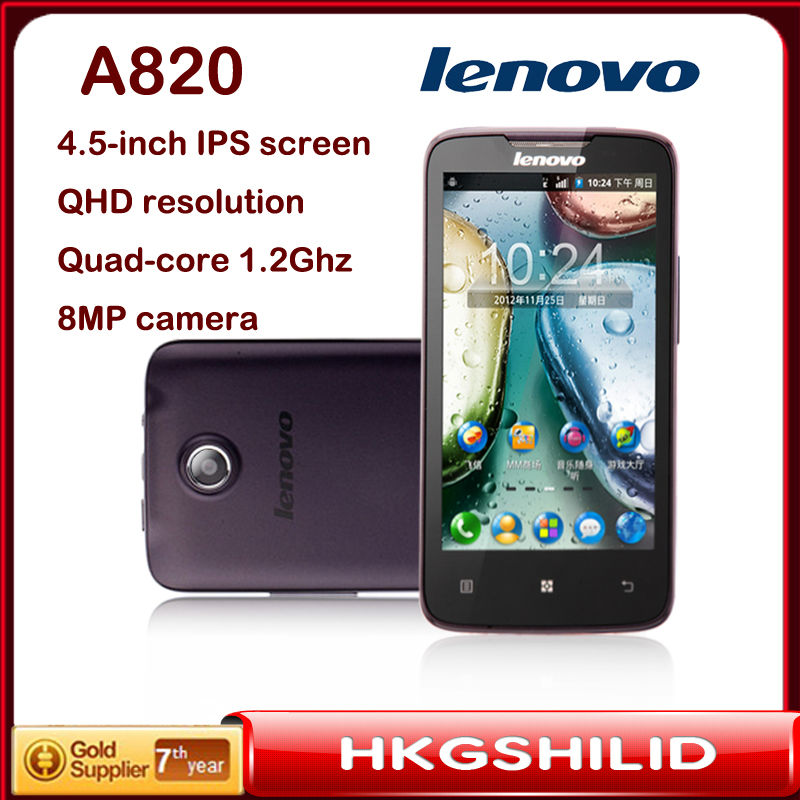 "Original Lenovo A820 mtk6589 Quad-Core CPU 1.21GB RAM 4.5""Inch IPS Screen WIFI GPS 3G Smartphone Support Russian Spanish(Hong Kong)"