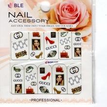 20 Sheet 3DxDesign Tip Fashion purse bag Beauty Logo watch high-heel Nail Art Sticker Decals Manicure Self-adhesive BOP122(China (Mainland))