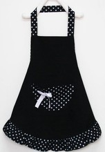 5pcs/lot Lady Lovely Princess Style Cotton Apron with dots and big pocket for Cooking Kitchen(China (Mainland))