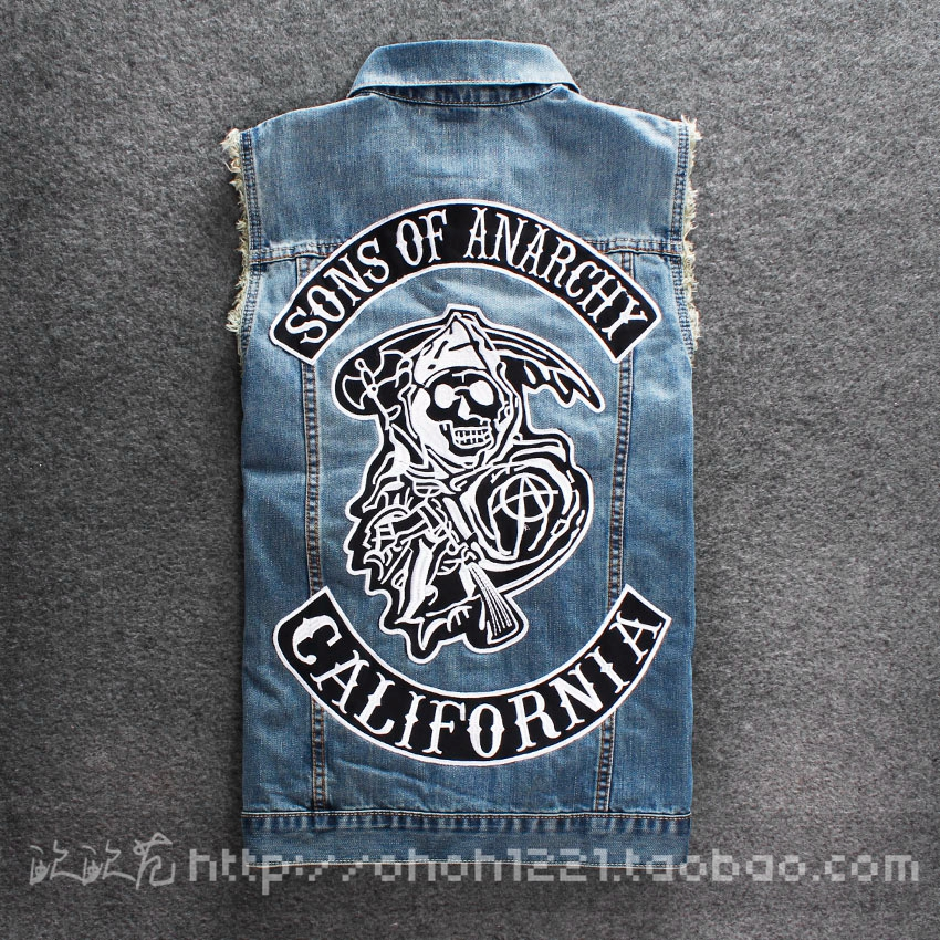2015 New men's clothing denim vest sons of anarchy vest male denim vest slim male vest(China (Mainland))