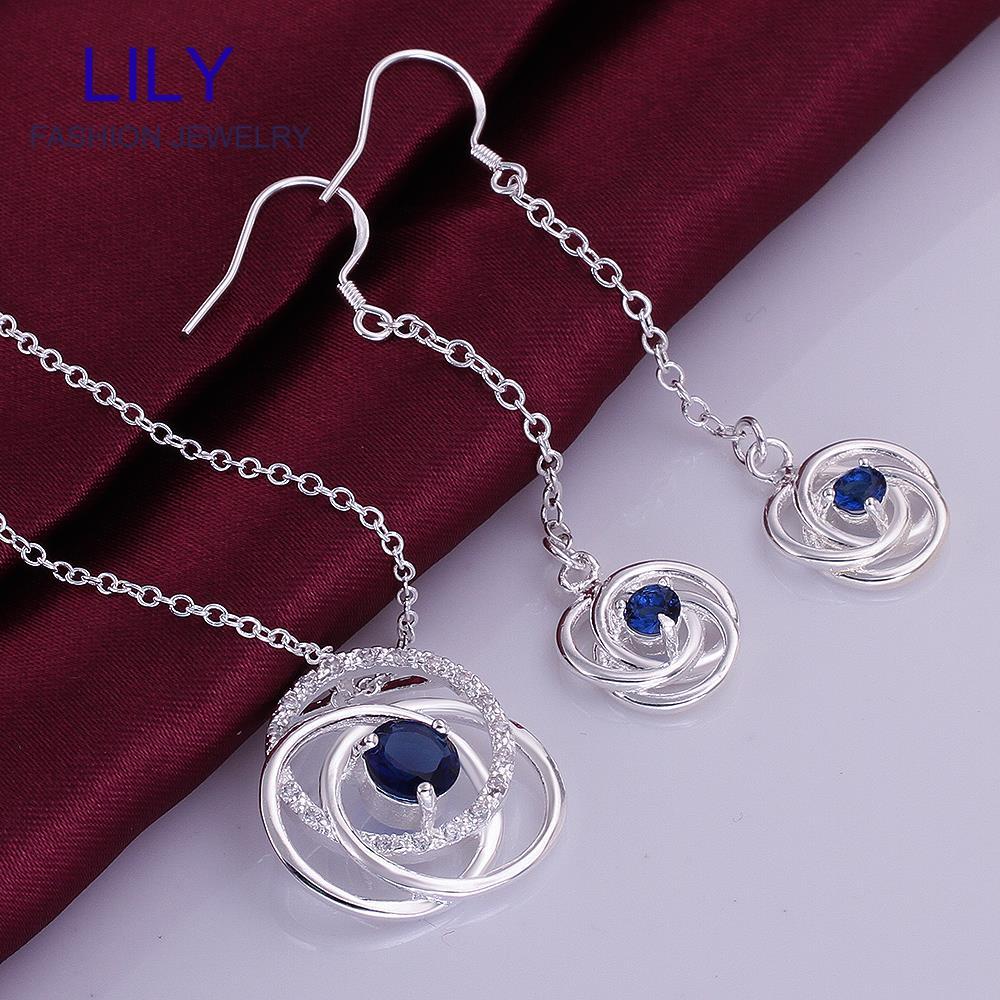 S752-C Womens Costume Jewelry Sets Fashion Necklace Set 925 Silver Blue Zircon Necklaces + Earrings Jewlery - hailiu jewelry store