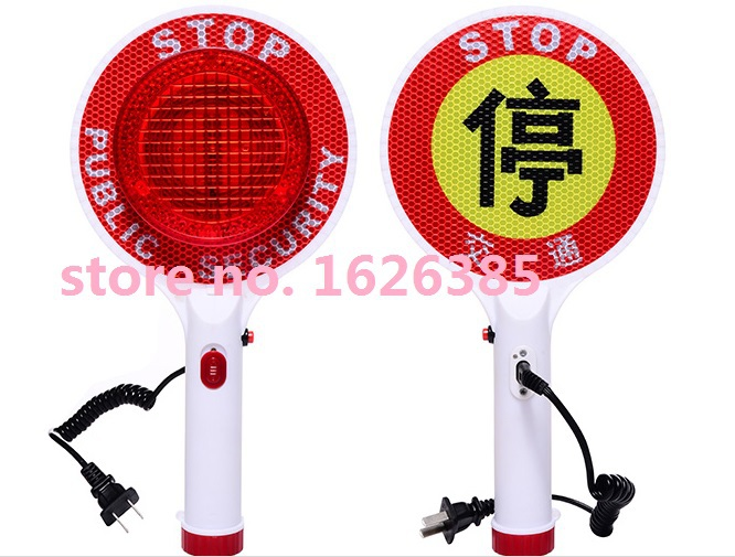 Free Shipping! Professional quality LED rechargeable parking warning signs / handheld traffic stop word cards / traffic baton(China (Mainland))