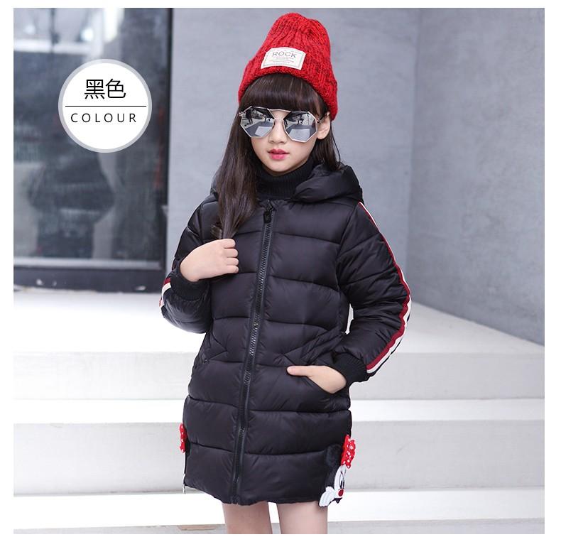 Скидки на 3-10 Т девушки зимняя куртка хлопка ватник средней длины верхней одежды пальто с капюшоном сгущает девушка зимнее пальто детей одежда