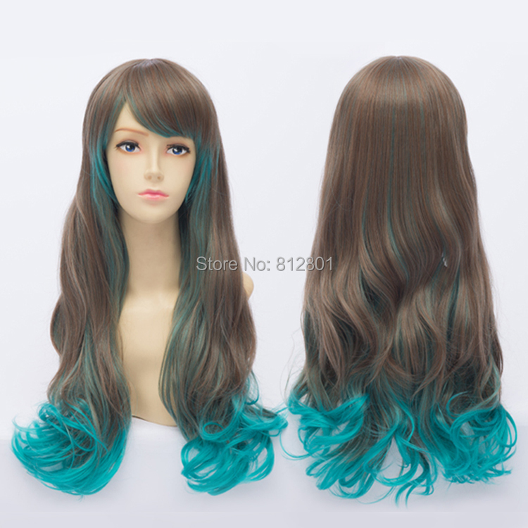 25.59 inch / 65cm Long Synthetic Hair lolita curly Cosplay costume wig Color Blended Brown blue - Lacos store