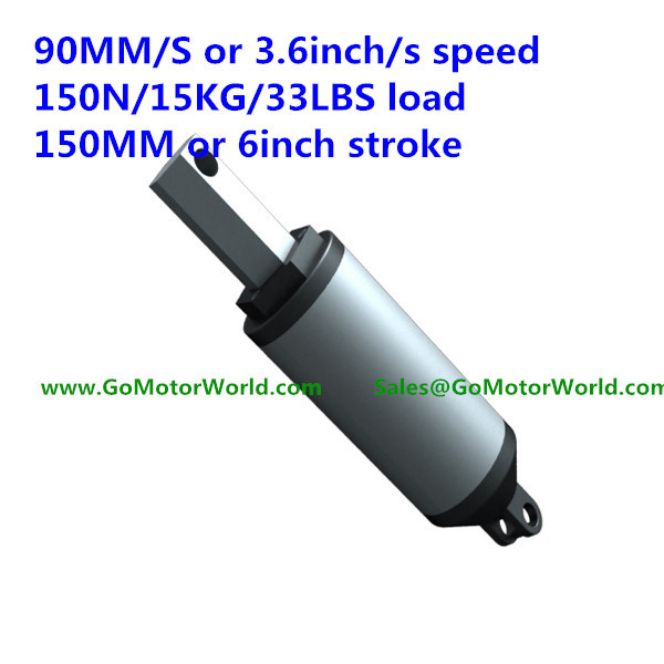 90mm/sec 3.6inch/sec speed 150N 15KG 44LBS load force 150mm 6inch stroke 12V 24V DC High speed linear actuator LA13