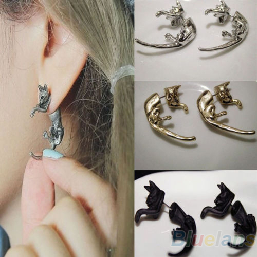 1 Piece Popular Long Tail Small Leopard Cat Puncture Girls And Boys Stud Earrings for Men Women 07IJ(China (Mainland))