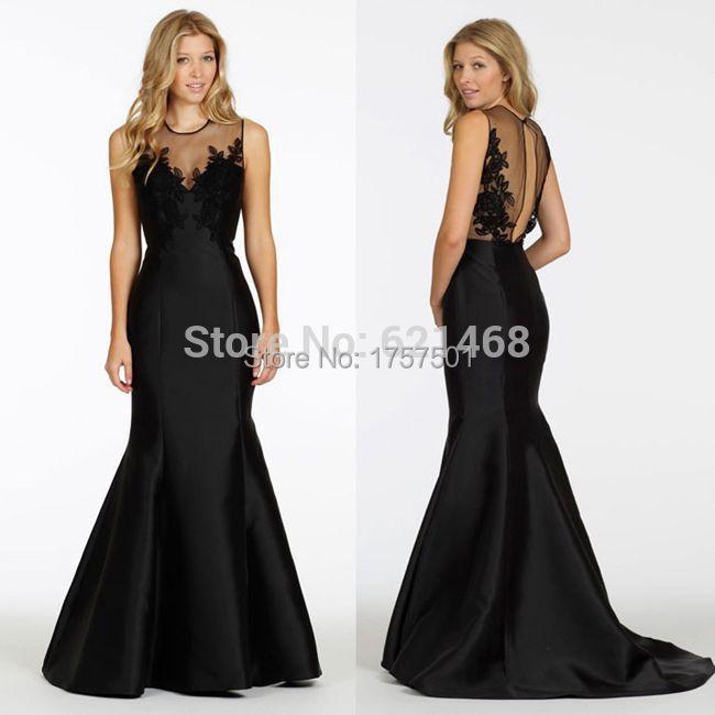 Custom made Taffeta Appliques vestido de festa Long Evening dress Black Mermaid dress vestido longo 2015 Black evening dress(China (Mainland))
