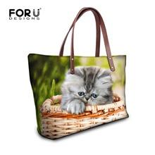 Buy Brand Designer Casual Women Handbag Waterproof Durable Shoulder Bag Lovely Cat Ptinted Top-handle Female Tote Bag Large Capacity for $23.19 in AliExpress store