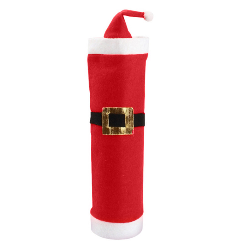 1 Set Non-woven Fabric Christmas Santa Suit Red Wine Bottle Cover Wrap Hat Cap Holiday Decoration(China (Mainland))