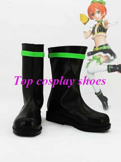 Freeshipping Love Live Love Live! No brand girls Hoshizora Rin Cosplay Boots shoes with green adge hand made #65457(China (Mainland))