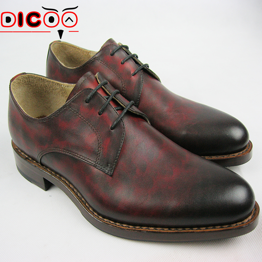 Luxury mens goodyear welted shoes bespoke leather oxfords shoes comfortable wine red dress shoes male black safety shoes 2015(China (Mainland))