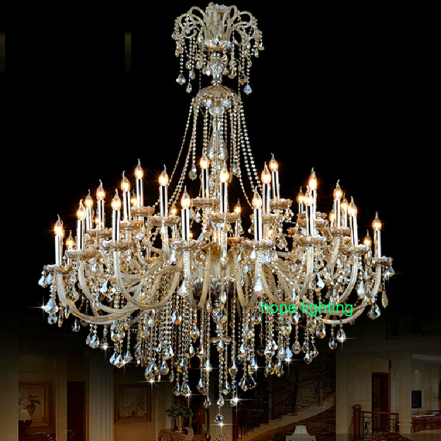 grande salle lampe lustres de luxe champagne lustre en cristal grand cristal moderne lustres. Black Bedroom Furniture Sets. Home Design Ideas