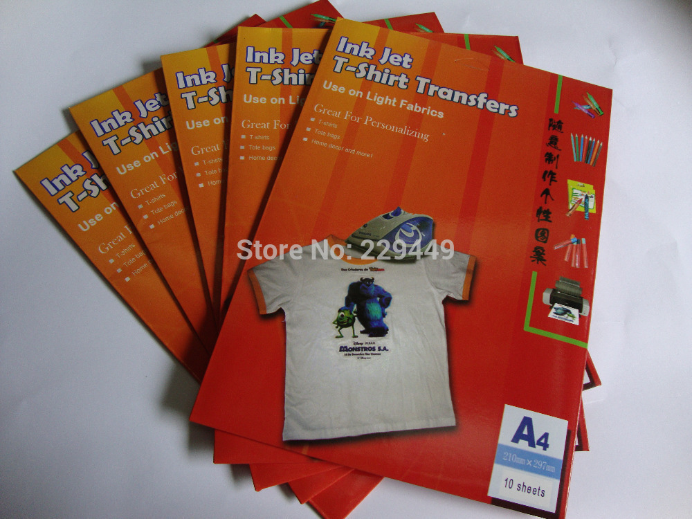 A4*10pcs/lot Inkjet Heat Iron On Textil Transfer Paper Themal Transfer Paper For Fabric T shirt Free Shipping(China (Mainland))