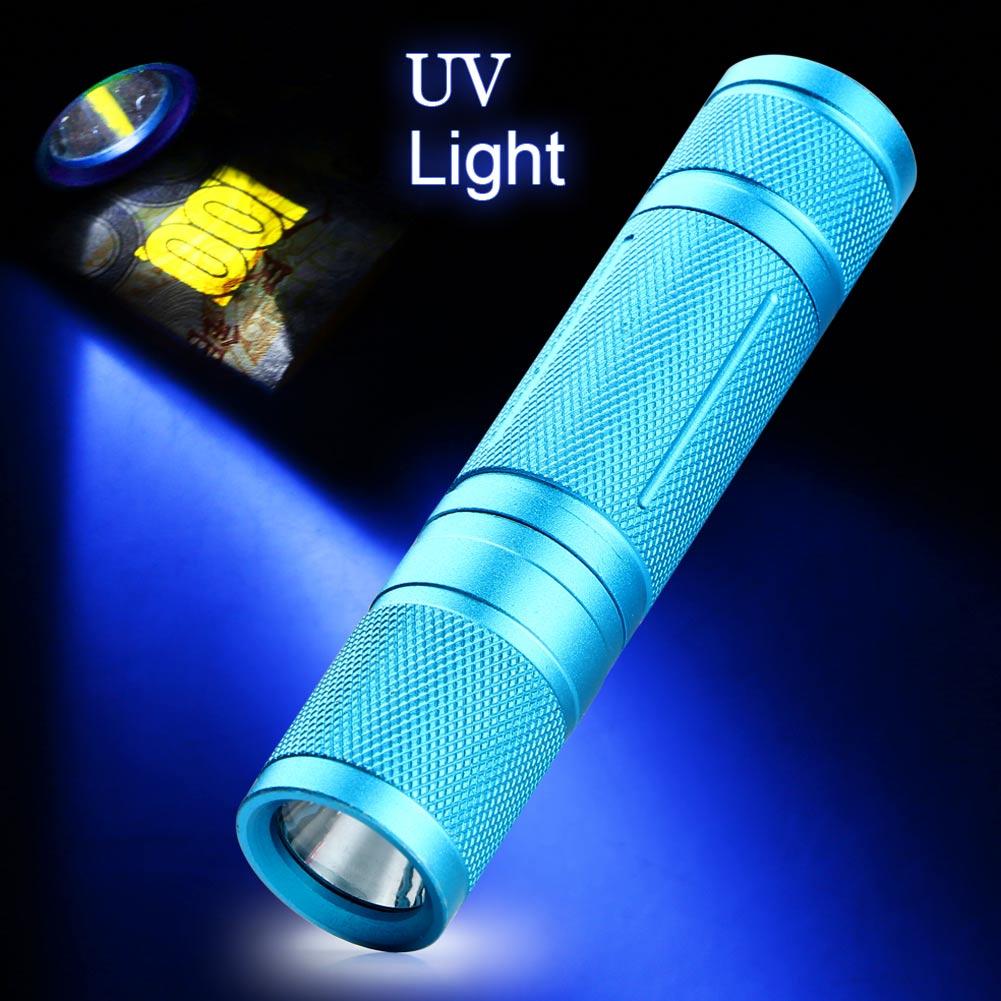 Led UV Flashlight Torch Light 365nm Purple Ultra Violet Light Blacklight UV Lamp AA Battery For Marker Checker Detection Blue