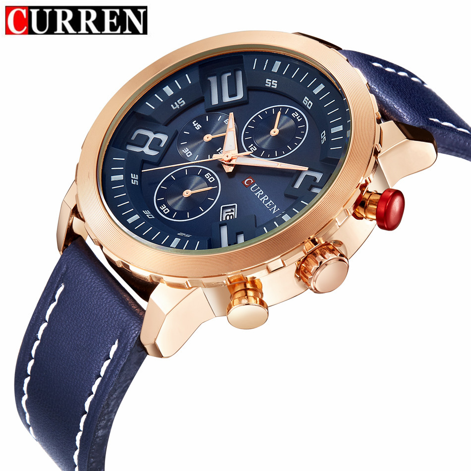 LUXURY Curren Brand Quartz Gold Watches Deluxe Men Leather Watches women Wristwatches Christmas Gifts Men wristwatches hot 8193(China (Mainland))