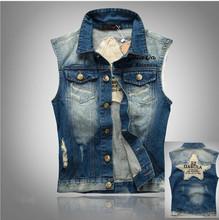 Denim Vest Male Sleeveless Denim Jacket Plus Size Blue Denim Sleeveless Jean Jacket Men Colette Jeans Denim Vest Male 3XL 4XL(China (Mainland))